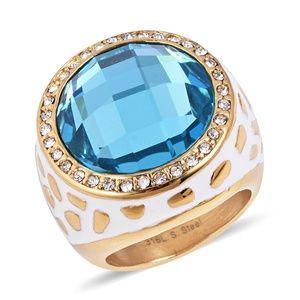 Jewelry - Bella Blue Glass, White Austrian Crystal Ring